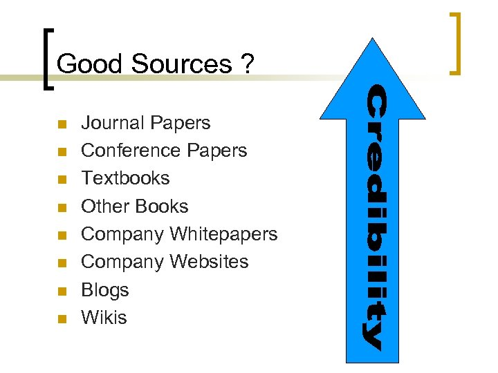 Good Sources ? n n n n Journal Papers Conference Papers Textbooks Other Books