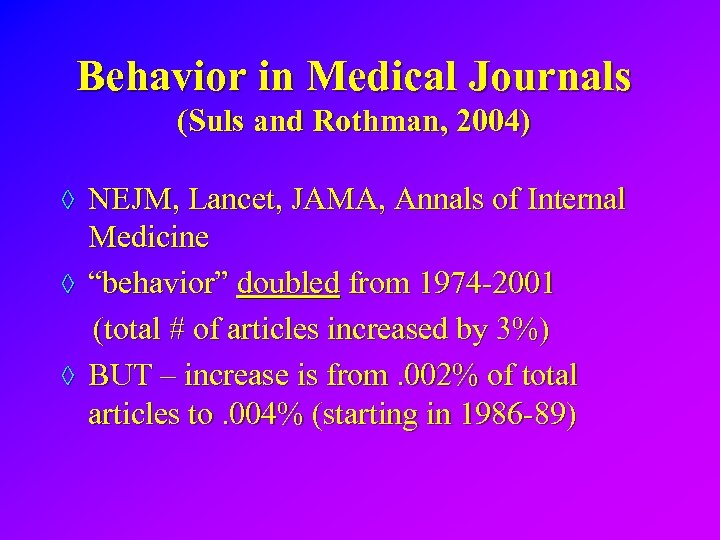 Behavior in Medical Journals (Suls and Rothman, 2004) ◊ NEJM, Lancet, JAMA, Annals of