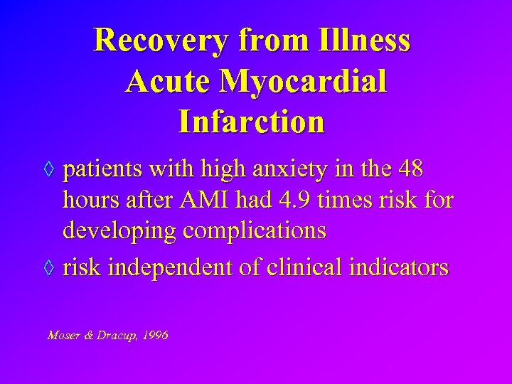 Recovery from Illness Acute Myocardial Infarction ◊ patients with high anxiety in the 48