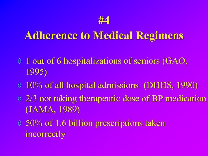 #4 Adherence to Medical Regimens ◊ 1 out of 6 hospitalizations of seniors (GAO,