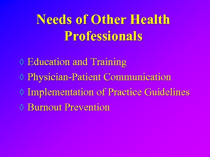 Needs of Other Health Professionals ◊ Education and Training ◊ Physician-Patient Communication ◊ Implementation