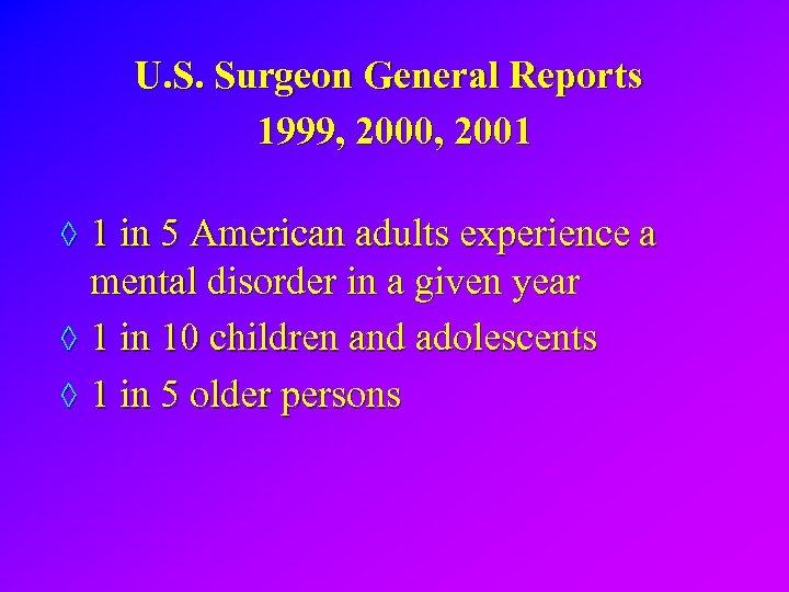 U. S. Surgeon General Reports 1999, 2000, 2001 ◊ 1 in 5 American adults
