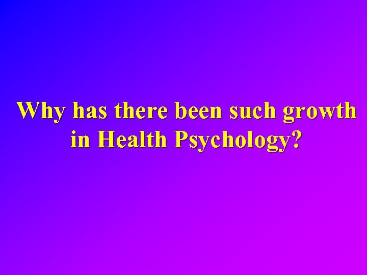 Why has there been such growth in Health Psychology?