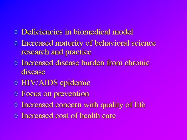 ◊ Deficiencies in biomedical model ◊ Increased maturity of behavioral science ◊ ◊ ◊