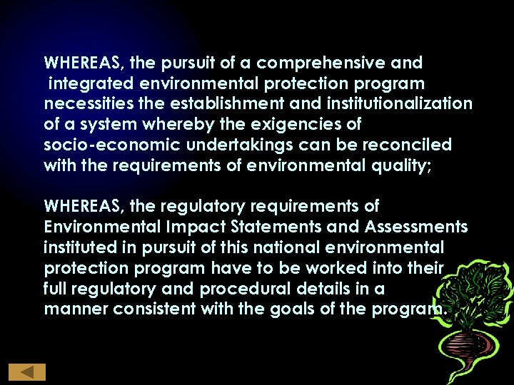 WHEREAS, the pursuit of a comprehensive and integrated environmental protection program necessities the establishment