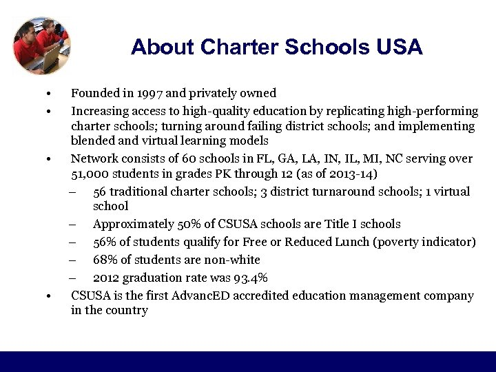 About Charter Schools USA • • Founded in 1997 and privately owned Increasing access