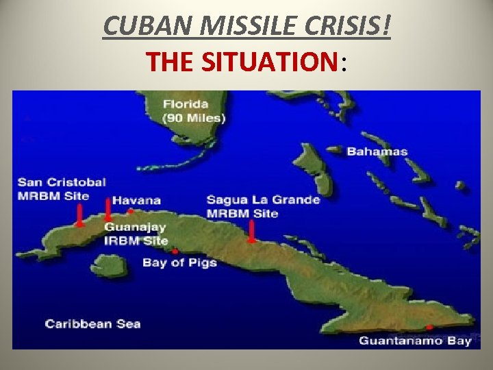 CUBAN MISSILE CRISIS! THE SITUATION: