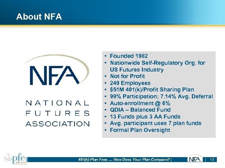 About NFA • Founded 1982 • Nationwide Self-Regulatory Org. for US Futures Industry •