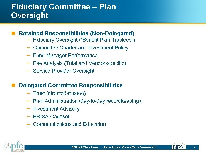Fiduciary Committee – Plan Oversight n Retained Responsibilities (Non-Delegated) – – – Fiduciary Oversight