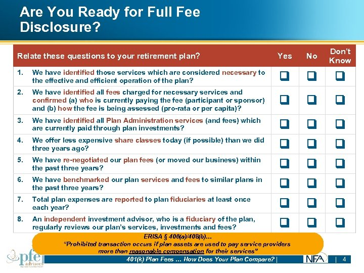 Are You Ready for Full Fee Disclosure? Relate these questions to your retirement plan?