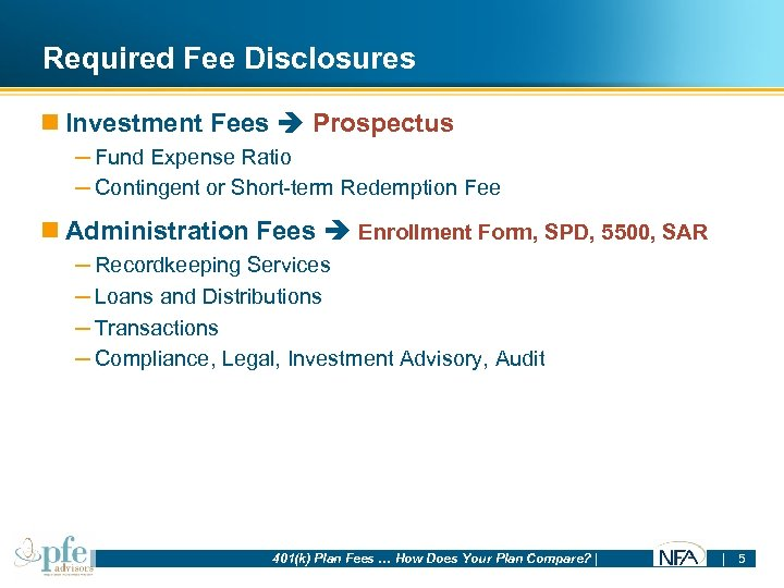 Required Fee Disclosures n Investment Fees Prospectus – Fund Expense Ratio – Contingent or