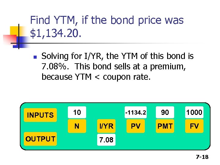 Find YTM, if the bond price was $1, 134. 20. n Solving for I/YR,