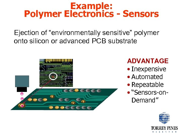 "Example: Polymer Electronics - Sensors Ejection of ""environmentally sensitive"" polymer onto silicon or advanced"