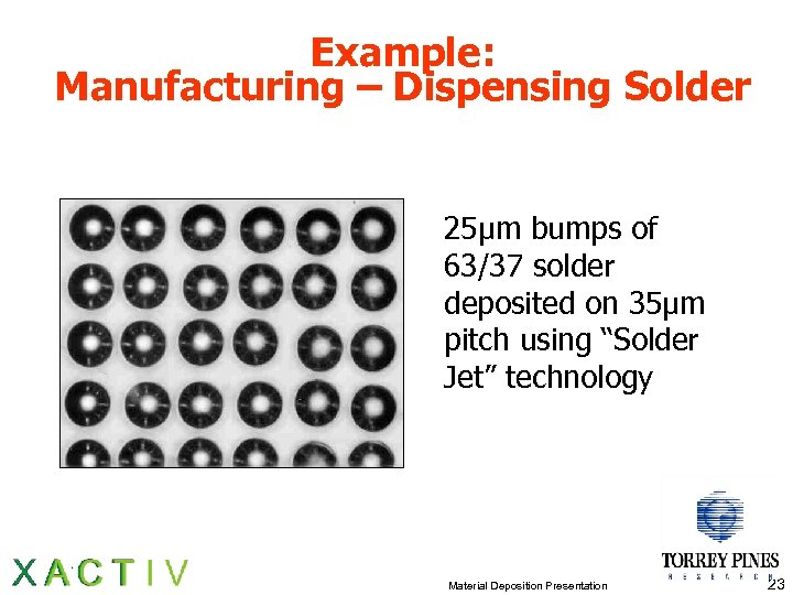 Example: Manufacturing – Dispensing Solder 25µm bumps of 63/37 solder deposited on 35µm pitch