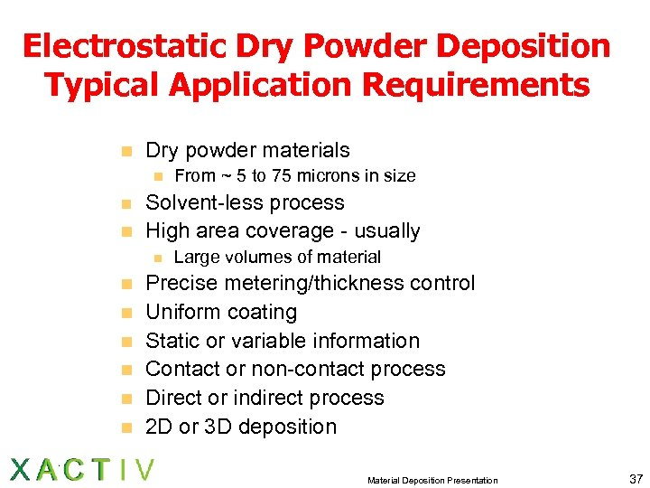 Electrostatic Dry Powder Deposition Typical Application Requirements n Dry powder materials n n n