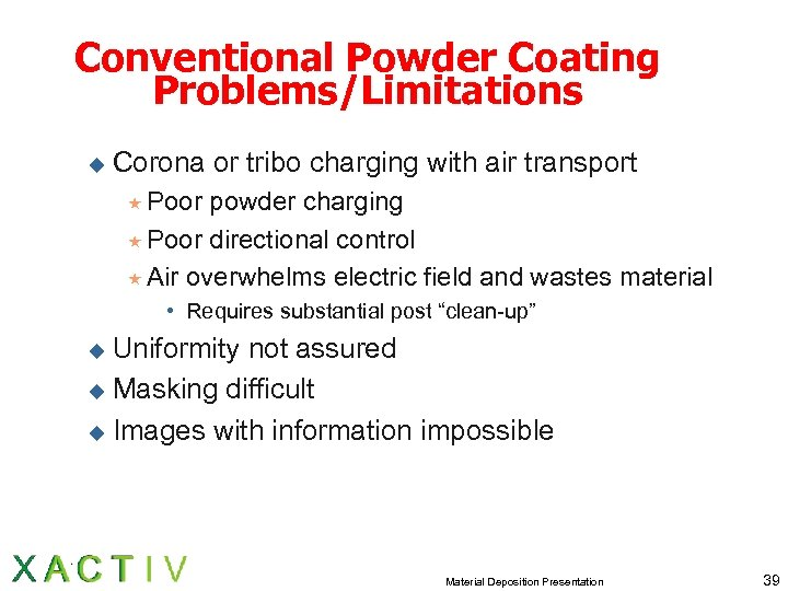 Conventional Powder Coating Problems/Limitations u Corona or tribo charging with air transport « Poor