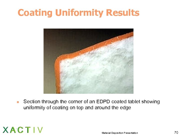 Coating Uniformity Results n Section through the corner of an EDPD coated tablet showing