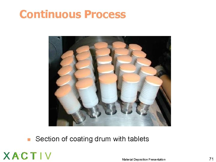 Continuous Process n Section of coating drum with tablets Material Deposition Presentation 71