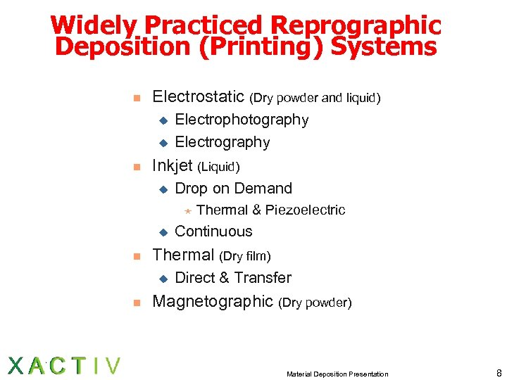 Widely Practiced Reprographic Deposition (Printing) Systems n Electrostatic (Dry powder and liquid) u u