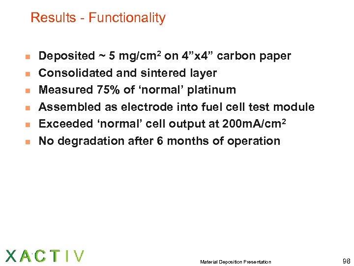"""Results - Functionality n n n Deposited ~ 5 mg/cm 2 on 4""""x 4"""""""