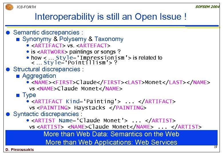 SOFSEM 2004 ICS-FORTH Interoperability is still an Open Issue ! Semantic discrepancies : ¢