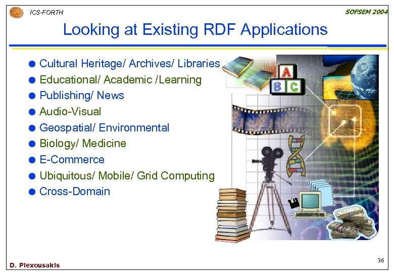 SOFSEM 2004 ICS-FORTH Looking at Existing RDF Applications Cultural Heritage/ Archives/ Libraries Educational/ Academic