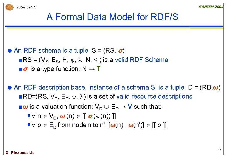 SOFSEM 2004 ICS-FORTH A Formal Data Model for RDF/S An RDF schema is a