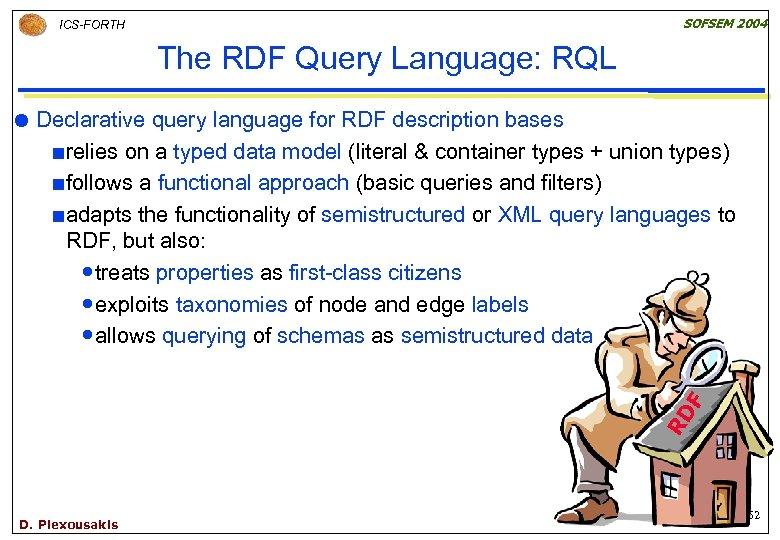SOFSEM 2004 ICS-FORTH The RDF Query Language: RQL Declarative query language for RDF description