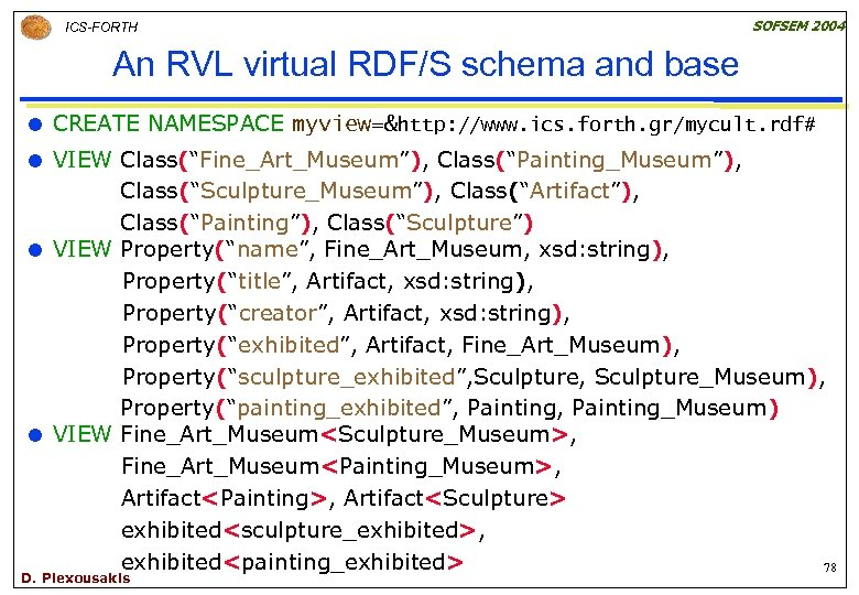 ICS-FORTH SOFSEM 2004 An RVL virtual RDF/S schema and base CREATE NAMESPACE myview=&http: //www.