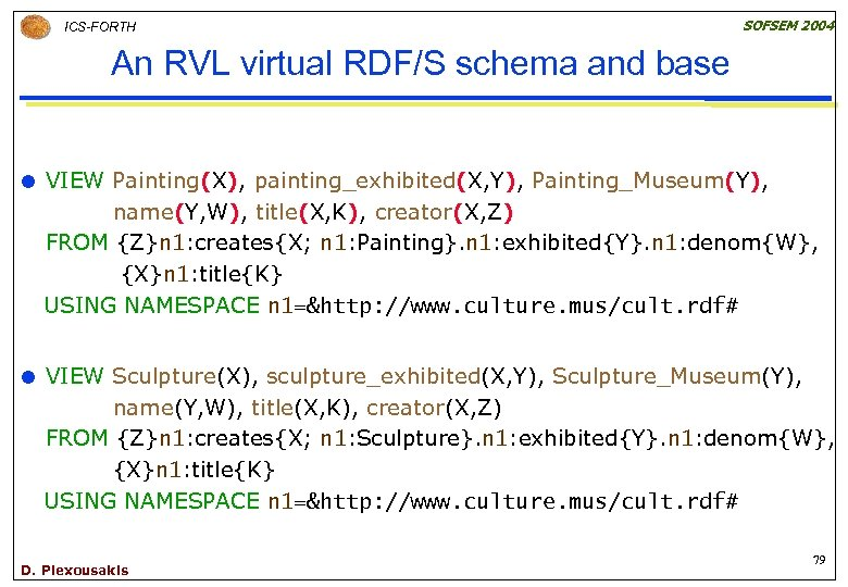 ICS-FORTH SOFSEM 2004 An RVL virtual RDF/S schema and base VIEW Painting(X), painting_exhibited(X, Y),