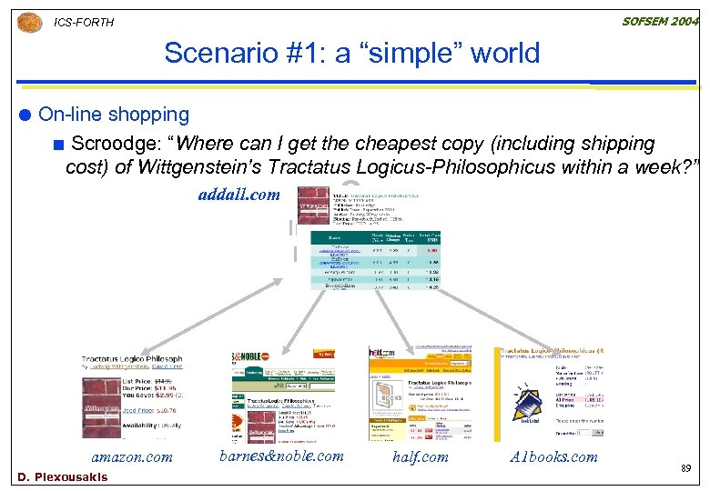 """SOFSEM 2004 ICS-FORTH Scenario #1: a """"simple"""" world On-line shopping ¢ Scroodge: """"Where can"""