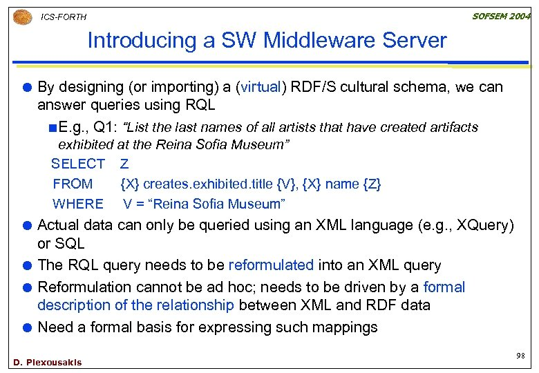 SOFSEM 2004 ICS-FORTH Introducing a SW Middleware Server By designing (or importing) a (virtual)