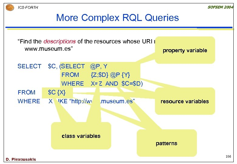 """SOFSEM 2004 ICS-FORTH More Complex RQL Queries """"Find the descriptions of the resources whose"""