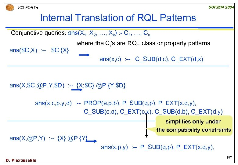 SOFSEM 2004 ICS-FORTH Internal Translation of RQL Patterns Conjunctive queries: ans(X 1, X 2,