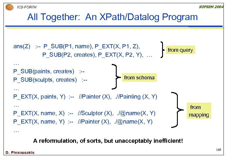 SOFSEM 2004 ICS-FORTH All Together: An XPath/Datalog Program ans(Z) : -- P_SUB(P 1, name),