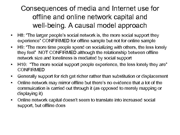 Consequences of media and Internet use for offline and online network capital and well-being.