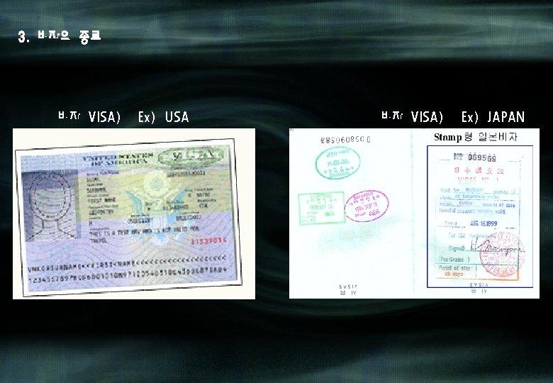 3. 비자의 종류 비자(VISA) Ex) USA 비자(VISA) Ex) JAPAN