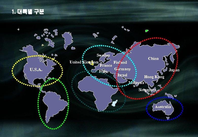 1. 대륙별 구분 Sweden United Kingdom U. S. A. China Finland France Germany Italy