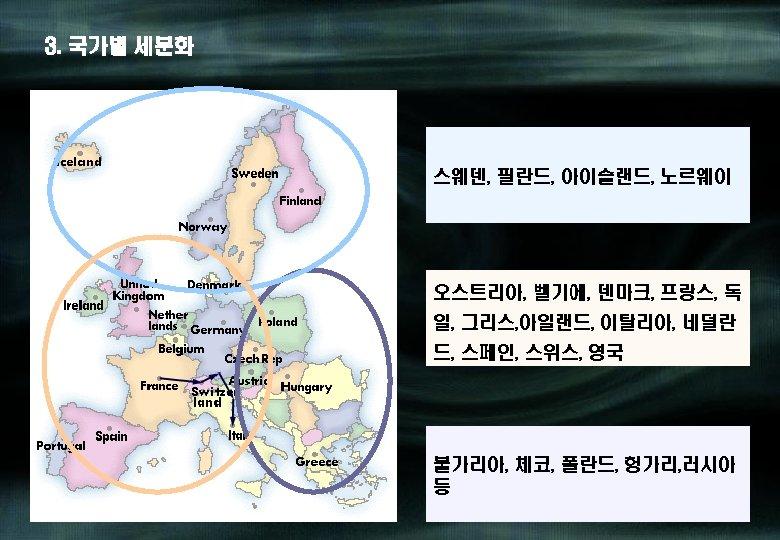 3. 국가별 세분화 스웨덴, 필란드, 아이슬랜드, 노르웨이 오스트리아, 벨기에, 덴마크, 프랑스, 독 일, 그리스,