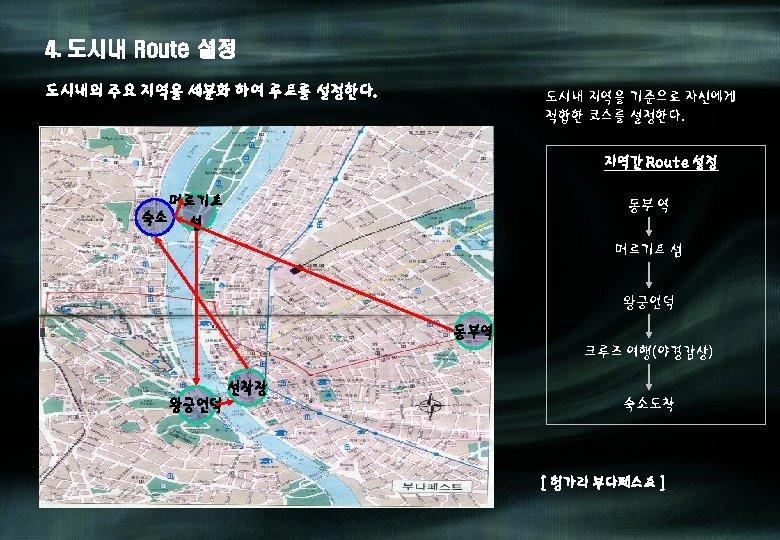 4. 도시내 Route 설정 도시내의 주요 지역을 세분화 하여 루트를 설정한다. 도시내 지역을 기준으로