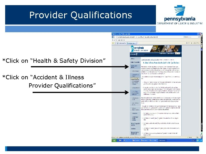 """Provider Qualifications *Click on """"Health & Safety Division"""" *Click on """"Accident & Illness Provider"""