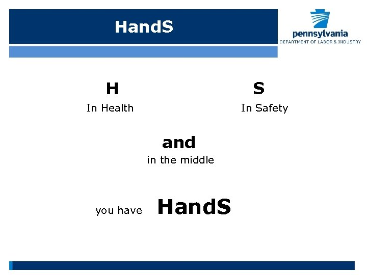 Hand. S H S In Health In Safety and in the middle you have