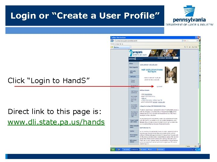"""Login or """"Create a User Profile"""" Click """"Login to Hand. S"""" Direct link to"""