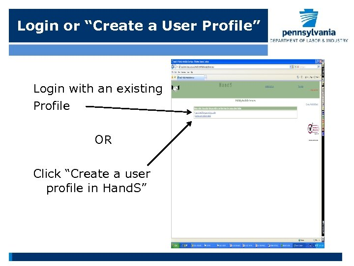 """Login or """"Create a User Profile"""" Login with an existing Profile OR Click """"Create"""