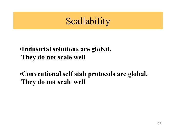 Scallability • Industrial solutions are global. They do not scale well • Conventional self