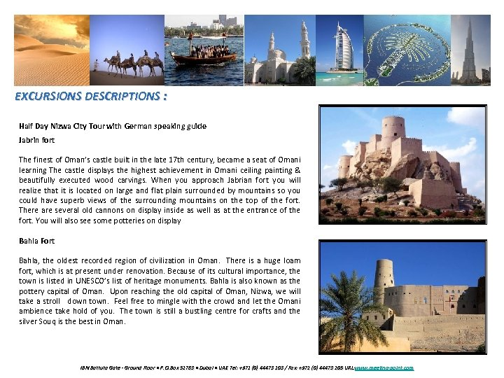 EXCURSIONS DESCRIPTIONS : Half Day Nizwa City Tour with German speaking guide Jabrin fort