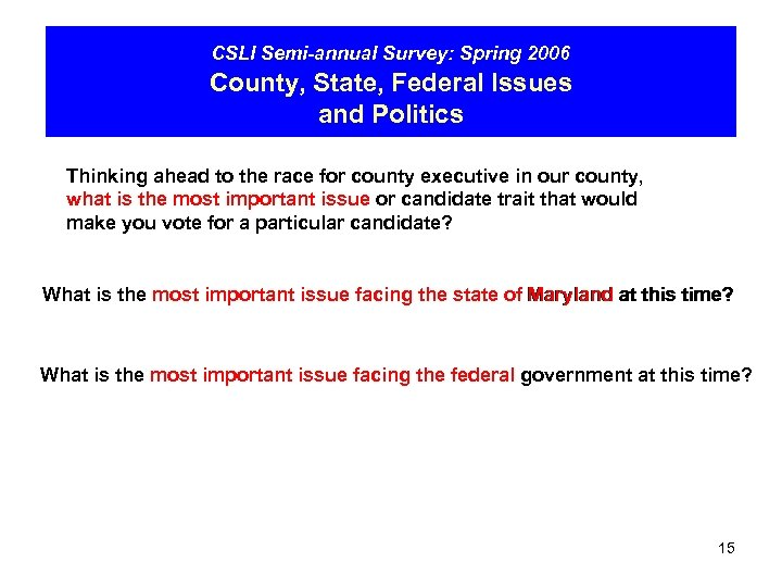 CSLI Semi-annual Survey: Spring 2006 County, State, Federal Issues and Politics Thinking ahead to