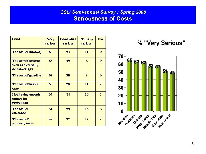 CSLI Semi-annual Survey : Spring 2006 Seriousness of Costs Cost Very serious Somewhat serious
