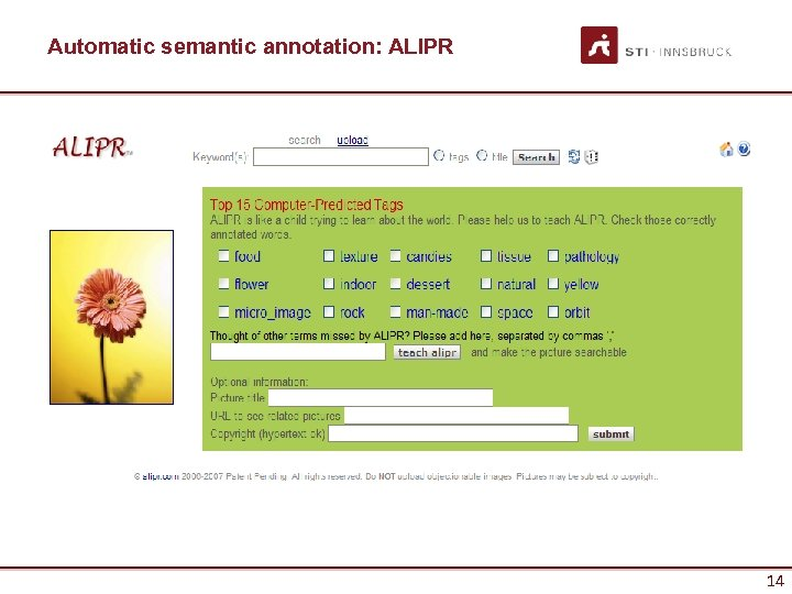 Automatic semantic annotation: ALIPR 14