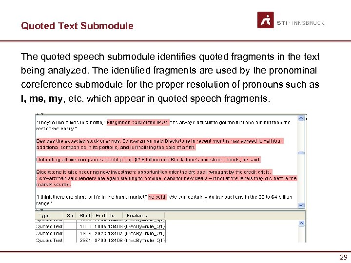 Quoted Text Submodule The quoted speech submodule identifies quoted fragments in the text being